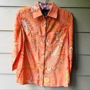 George Orange Floral Button Down. Women's Small